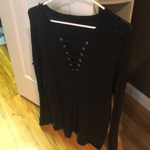 V-neck Black Sweater Shirt